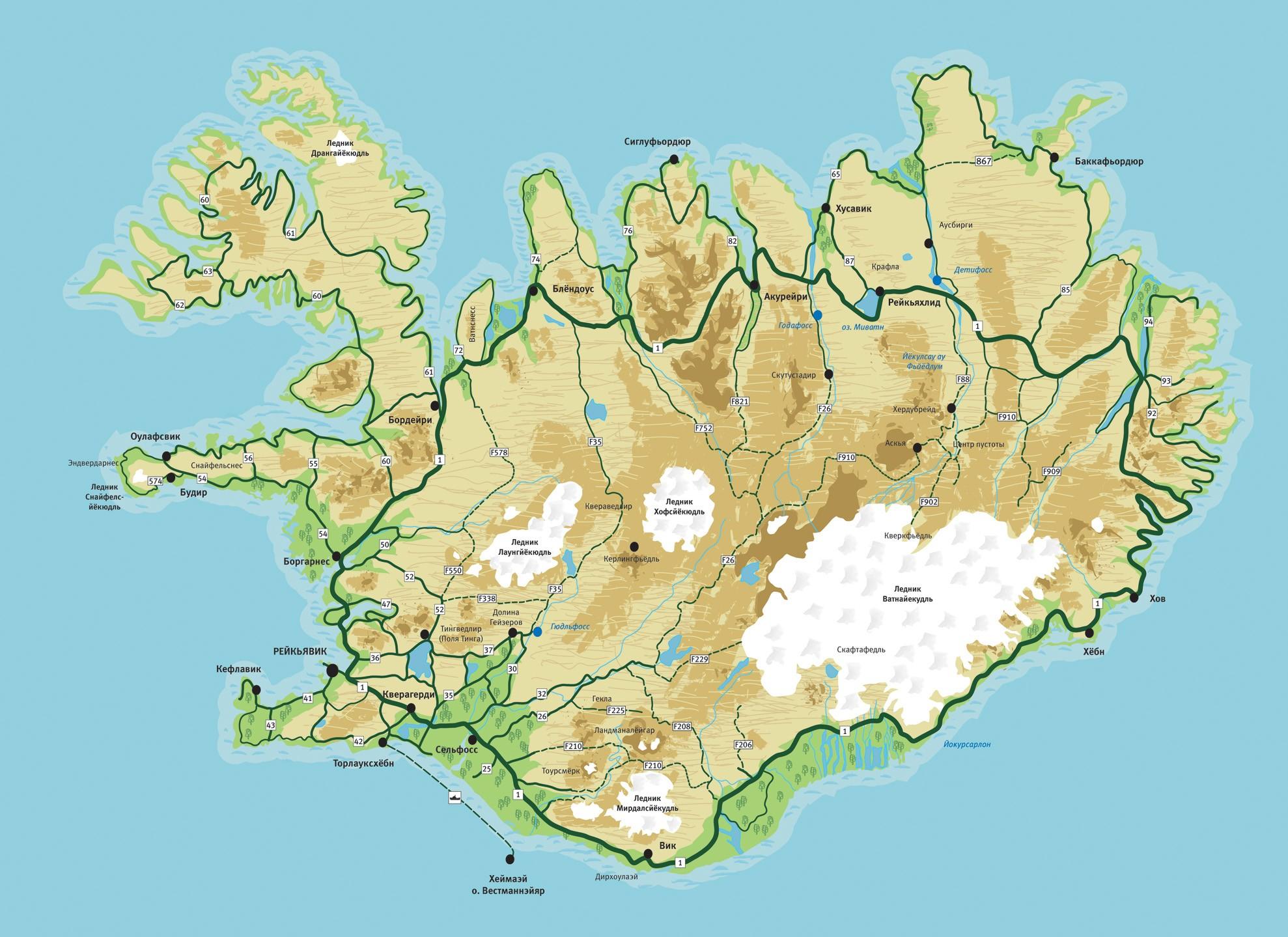 Карта Исландии на русском